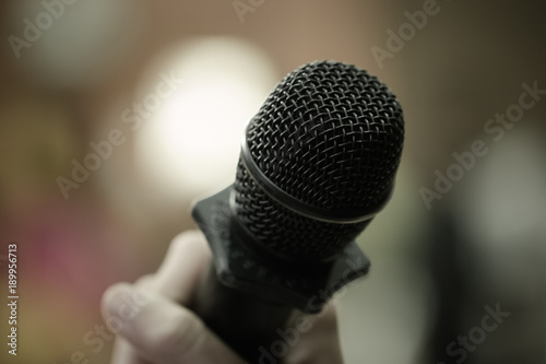 Speaker Mini Mic Microphone In Conference Room Or Seminar Meeting