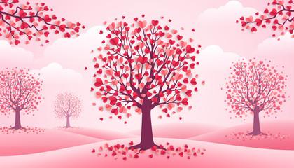 Valentines Day trees, pink landscape