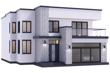 3d render of modern house isolated on a white background.