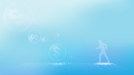 An economic bubble or asset bubble business image vector for business abstract background.
