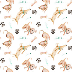 Watercolor cute funny dogs, dog track and green branches seamless pattern, hand drawn isolated on a white background