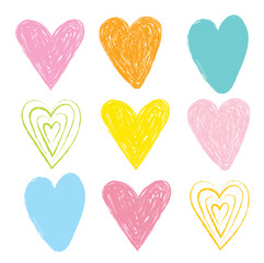 heart chalk pastel, colorful drawing set, vector hearts, wedding day,  valentines, love, happy valentine