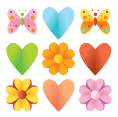 heart, butterfly, flower, spring origami set, vector hearts, day, wedding, valentines, love, design