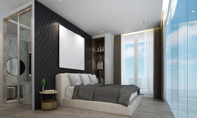 The modern luxury bedroom interior design and sea view background