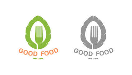 Color and black silhouette icon, logo for company, restaurant or fast food delivery service, vegetarian cuisine, healthy food. Graphic vector, isolated on background with image of spoon, fork, basil.