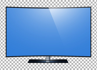 Curved tv. 4k Ultra HD screen, led tv isolated transparancy background