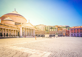 Photo sur Aluminium Naples Piazza del Plebiscito, Naples Italy