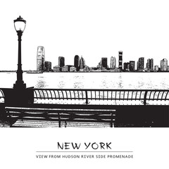 Vector landscape with a park, river side promenade, Jersey City skyline and silhouettes of street lamp. View from Manhattan embankment, New York City, USA