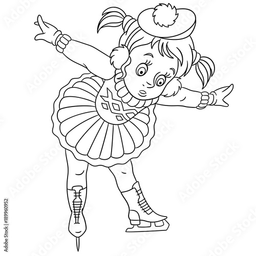 Coloring Page Cartoon Girl Jumping With Skipping Rope Design For