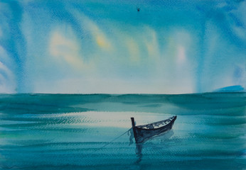 Landscape of blue sea with fishing boat , watercolor painting