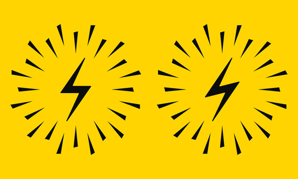 Electrical Sign with Sparks. Vector Icon