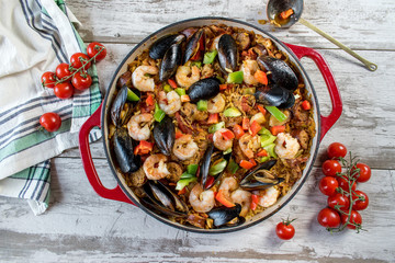Mediterranean Paella in cast iron dish top view