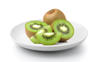 Kiwi fruits slice in a plate isolated on a white background