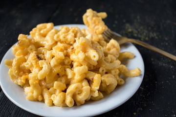 macaroni and cheese noodles on plate