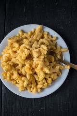macaroni and cheese noodles on plate top view