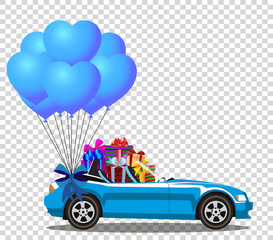 Blue modern opened cartoon cabriolet car with gifts