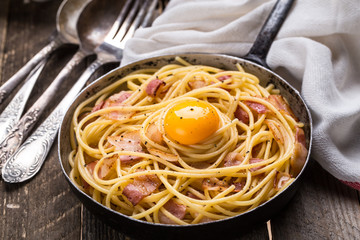 Pasta with bacon, egg and cheese