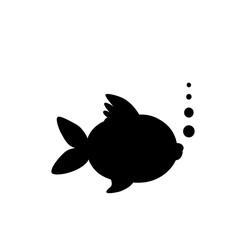 Black silhouette of goldfish  isolated on white background