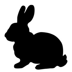 Black silhouette of fluffy rabbit or hare sitting  isolated on white