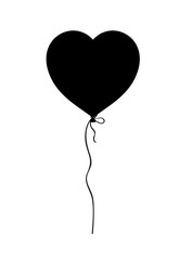 Black silhouette of heart shaped helium balloon isolated on white