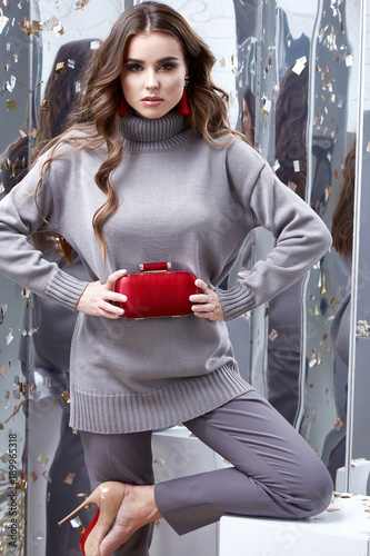 Beautiful Sexy Young Business Woman Brunette Hair Luxury Chic Wear Casual Style For Office Grey Organic