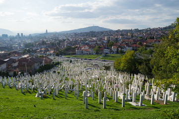 Cemetery and Cityscape in Sarajevo, Bosnia and Herzegovina