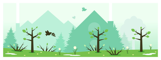 Flat vector banner. Illustration of buildings and spring nature.