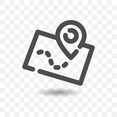Outlined map icon with map pin pointer on transparent background.