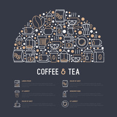 Coffee and tea concept in half circle with thin line icons: take away paper cups, cezve, coffee machine, teapot, cappuccino, cup, tea with lemon, grinder. Modern vector illustration for web page.
