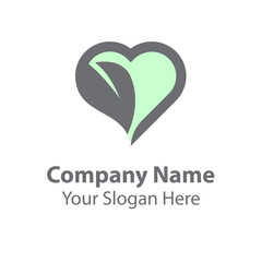leaf love logo design, green nature love
