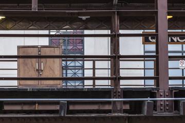 Metal box locked up on elevated train platform