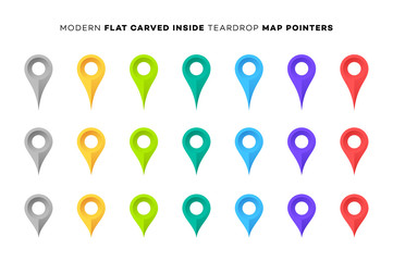 Set of Colorful Map Markers. Collection of Modern Flat Carved Inside Pointers. Vector Design Elements