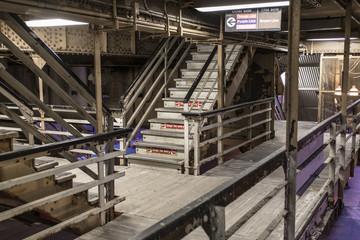Maze of stairways on an elevated platform