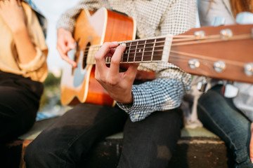 Man musician playing guitar. Performer lifestyle. Inspiration vocation music art concept