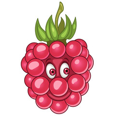 Cartoon Raspberry. Happy Fruit Emoticon. Smiley. Emoji. Eco Food symbol. Design element for kids coloring book page, t-shirt print, icon, logo, label, patch, sticker.