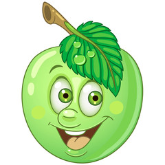 Cartoon Apple. Happy Fruit Emoticon. Smiley. Emoji. Eco Food symbol. Design element for kids coloring book page, t-shirt print, icon, logo, label, patch, sticker.