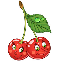 Cartoon Cherry. Happy Fruit Emoticon. Smiley. Emoji. Eco Food symbol. Design element for kids coloring book page, t-shirt print, icon, logo, label, patch, sticker.