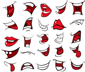 Wall Murals Baby room Illustration of a Set of Mouths