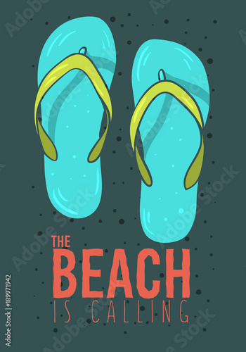 fdc41818f Beach Summer Poster Design With Flip Flops Slippers Beach Shoes Hand Drawn  Illustrations.
