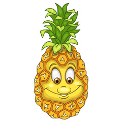 Cartoon Pineapple. Happy Fruit Emoticon. Smiley. Emoji. Eco Food symbol. Design element for kids coloring book page, t-shirt print, icon, logo, label, patch, sticker.