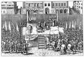 Beheading of counts of Egmont and Horn on June 5, 1568  (from Spamers Illustrierte Weltgeschichte, 1894, 5[1], 572/573)
