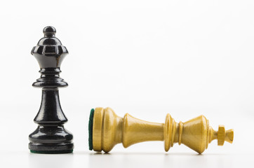 Schachfiguren vor weißem Hintergrund