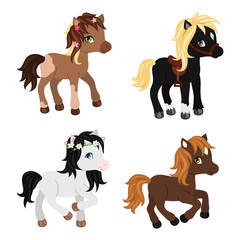 Adorable cartoon horses characters.