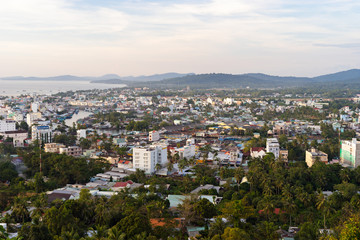 DUONG DONG, PHU QUOC, VIETNAM - NOVEMBER 21, 2017: Beautiful view from the high on town, sea, bay and hills at afternoon day time