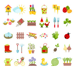 Spring and gardening tools icons set. Planting, growing, caring for garden and decoration elements isolated on white background. Cartoon flat style vector illustration.