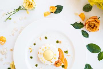 children party dessert cake floral background concept. celebrative mood. delicious restaurant food.