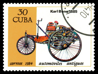 Postage stamp. Antique car Karl Benz 1885.