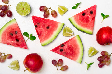Fresh watermelon and fruits on white background. Pattern of wate