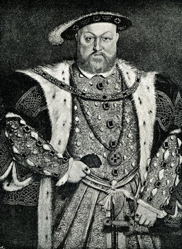 Henry VIII of England, portrait by Hans Holbein the Younger (from Spamers Illustrierte Weltgeschichte, 1894, 5[1], 579)