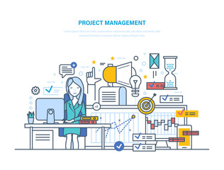 Project management. Organizing, controlling company resources, achieving project goals, planning.